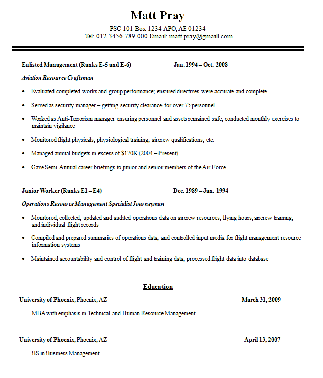 Military Resume Sample 2