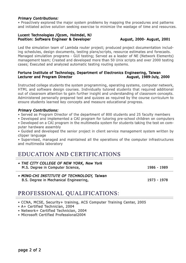 Professional Resume Sample 2