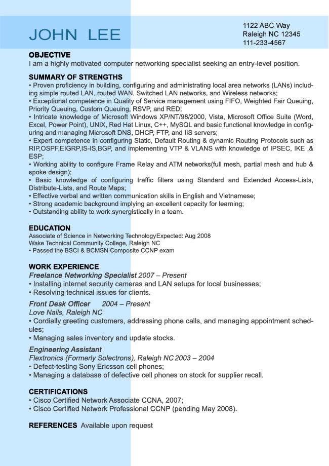 Entry Level Resume Sample - Resumesplanet.Com